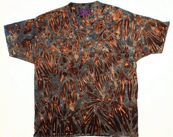 XXL Shibori Men's T Shirt Greys and Black Tie Dye Subtle 2X