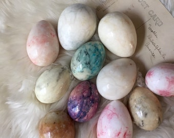 set of alabaster carved eggs / marble stone / collection