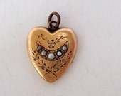 Antique Victorian Gold Filled  Heart Pendant with Seed Pearls