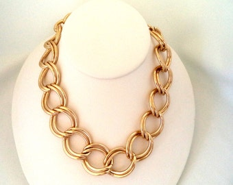 Vintage 1954 COROLITE Futura Finish Gold Large Link Necklace