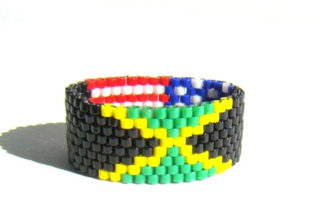 american jamaican flag bead ring jamaican by elephantbeads