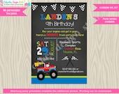 Monster Truck Birthday Party Invitation Invite, truck invite, truck party, chalkboard, boy, blue green red, DIY printable Digital