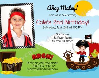 Pirate Invitation Pirate birthday Invitation Invite photo picture printable DIY digital