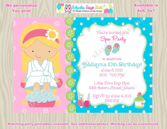 babycakesdesignstudio Spa Party Invitation Spa invitation invite