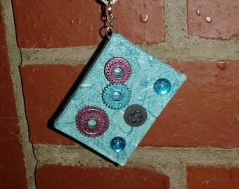 Upcycled Miniature Blue Steampunk Handmade Book Necklace by RivetGiRL Falls