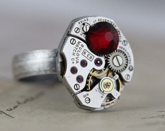 Mens Ring Steampunk Ring CUSTOM Made Jewelry Unique Ring Gifts for Him Dad Father Unisex Steampunk Jewelry  6 7 8 9 10 11 Watch Ring Unique