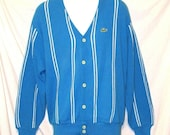 Big Sale Reduced. Green Gator IZOD Lacoste Azure/Sky Blue with Stripes Cardigan Sweater sz L