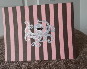 Pink and Brown Striped Octopus Card set of 2