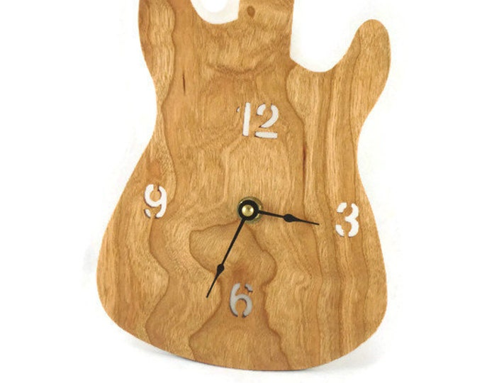 Guitar Wall Hanging Clock Handmade From Cherry Wood Fender Stratocaster Style