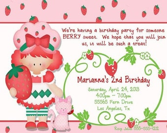 Strawberry Shortcake Birthday Invitations PRINTED with Coordinating Envelopes