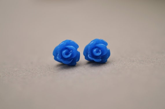 Blue Rose Studs, Blue Flower Earrings, Surgical Steel Earrings, Blue Earrings, Blue Studs, Stud Earrings, Small Rose Studs