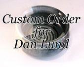 Custom Order for Dan Lund - Shaving Bowl - Glossy Black, Gray & Ivory - Handmade Pottery - Man's Comfort Shave - Ridges for Good Soap Lather