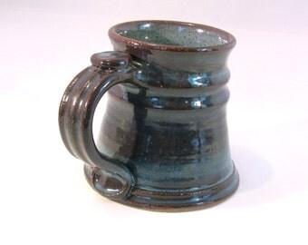 12 oz.Tankard, Stein, Coffee Mug - Handmade Pottery Glazed in Retro Blue and Brown