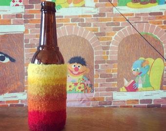 Felted Bottle Cozy - Cherry Lemonade Stripes - Red, Orange, Yellow