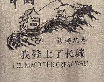 Vintage I Climbed the Great Wall Tee in Heather Gray
