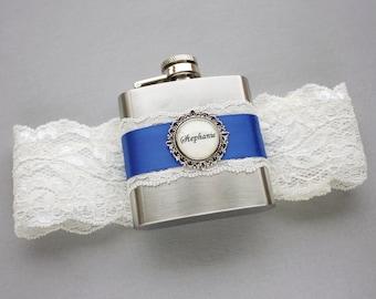 Ivory Wedding Garter, Royal Blue Bridal Garter, Wedding Garter with Flask, Something Blue Garter, Personalized FLASK GARTER - Gift for Bride