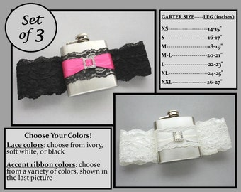 Three (3) Flask Garters: Bridesmaids Gift Set - Choose Your Colors - Garters with Flasks for Bride, Bridesmaids, Bachelorette Party Gifts