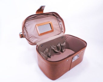 Train Case Brown Vinyl Soft Sided Cosmetics Case Vintage 70s