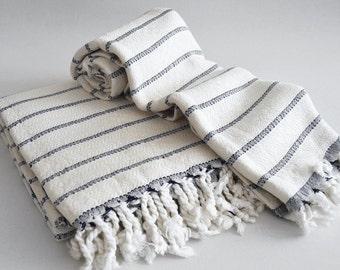 SALE 50 OFF / SET / Turkish Beach Bath Towel / Bamboo - Cotton / Navy Blue Striped