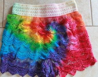 Tie Dye  Crochet Shorts