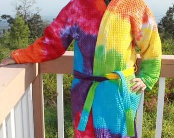 Tie Dye bathrobe/Spa Robe Deluxe upcycled