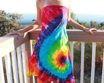 Tie Dye Strapless Dress upcycled