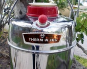 Therm a jug, vintage thermos, camping gear,vintage car, travel trailer, Thermos, Chrome