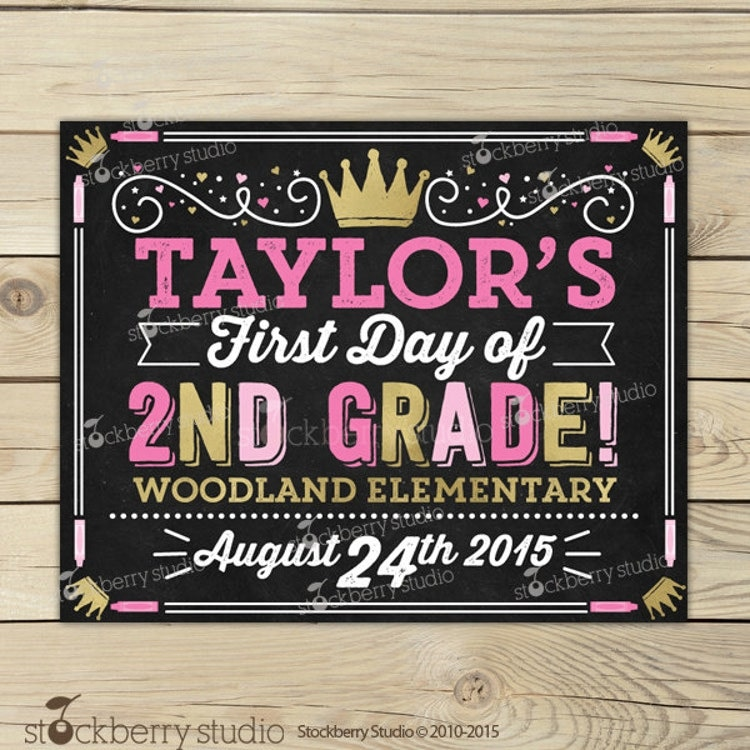 First Day of 5th Grade Sign Printable Girl by stockberrystudio