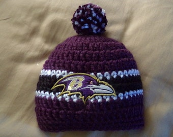 Baltimore Baby hat for Newborn to 18 months- Ravens team colors