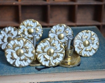 Vintage Round Drawer Pulls Vintage White Gold Brass Knobs Hardware Lot Small Round Knobs Vintage Round Knob Vintage