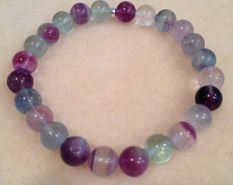 Rainbow Purple Clear & Green Fluorite 8mm Round Stretch Bead Bracelet for Arthritis, Protection and Intuition