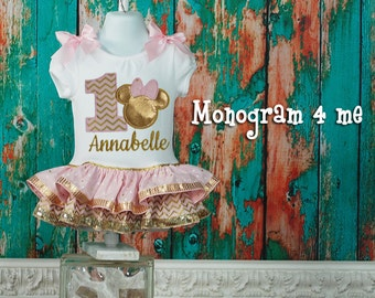 Minnie Mouse 1st Birthday Dress, Minnie mouse, Light Pink and Gold Minnie Mouse