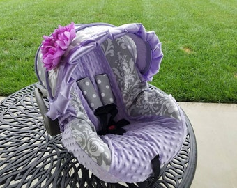 Baby Car seat Cover, Damask lilac and Dots infant car seat cover, girl baby seat cover with flower, girl car seat cover-FREE strap covers