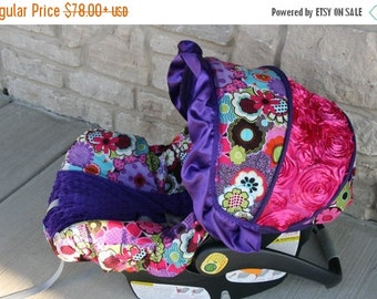 Summer SALE Purple pink green blue Flowers 3D rose accent Infant car seat cover -  Purple minky and ruffle - Custom Order with FREE Strap Co