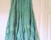 Vintage sea foam green rayon India Maxi Skirt