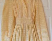 Vintage 70's cotton linen bohemian Wedding  maxi Dress