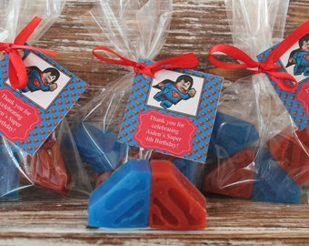 40 Superman Soap Party Favors with Lego Superman Tag:  10 Cello bags