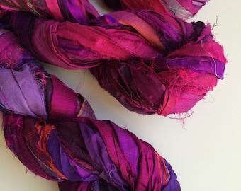 Silk sari ribbon, 300g, beautiful deep plum, Art Yarn, Eco Friendly, Craft ribbon for jewelry making and arts and crafts, knitting yarn.