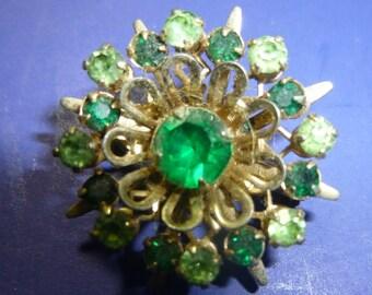 Starburst Green Vintage Pin, 1950s