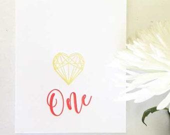 First Birthday Card - First Birthday Girl - First Birthday Boy - 1st Birthday - One Year Old - Birthday Card - Geometric Heart