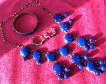 Royal blue necklace,earrings and bracelet set