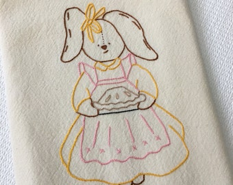 Baking bunny, Kitchen Towel, Hand Embroidered