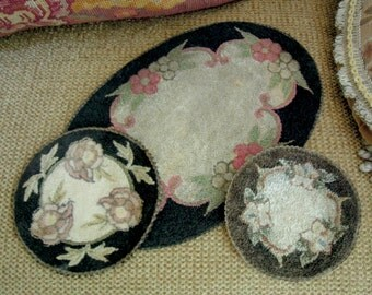 Three Antique Punch Needle Doilies / Hot Pads / Round Samplers / Wool Latch Hook Doilies / Victorian Trivet / Primitive / 1900-1910