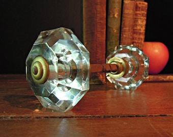 Vintage Cut Glass and Brass Door Knob / Restoration / Supplies / Assemblage / Clear Glass Door Knob Set