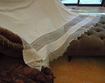 Antique Crochet Bed Sheet  / Victorian Cotton Bed Linens / Hand Crochet Trim / Vintage Wedding Gift