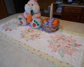 Spring Ribbon Star Quilted Patchwork Table Runner Spring or Easter Home Decor