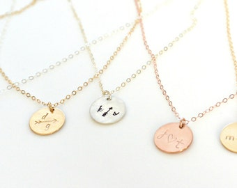 Initial Name Necklace, Gold Silver Rose Gold Initial Disc Necklace, Personalized Couples Necklace, Monogram Necklace, BFF, Sisters Jewelry