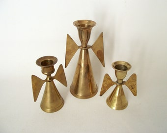 Brass Angel Candlesticks Holders | India Brass Candle Holders | Set of 3 Angels | Vintage Holiday Decor
