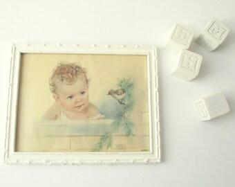 Vintage Nursery Print | Florence Kroger Litho Print | Baby and Bird Framed Lithograph Print Original Frame | Nursery Baby Shower Gift
