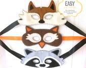 Fox Mask Pattern, Raccoon Mask Pattern, Owl Mask Pattern, Felt Woodland Masks, Hand Sewing PDF